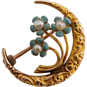 Antique Victorian Era 10k Gold Enamel Pearl Forget Me Knot Flowers Crescent Moon Pin