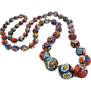 Vintage Exceptional Quality Venetian Millefiori Murano Glass Beads Necklace 28""