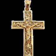 Vintage Large 14k Gold Filigree Crucifix Cross Pendant