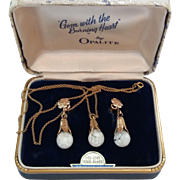 "Vintage Floating Opal Gold Filled Earrings Pendant Necklace Set In Original Case ""Opalite"""