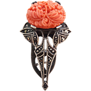 Art Deco Sterling Silver Marcasite Coral Color Floral Glass Stone Dress Clip