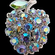 Vintage Aurora Borealis Rhinestone Apple Fruit Figural Pin Brooch Signed Lisner