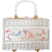 Unusual Vintage Wicker Moonglow Lucite Butterfly Flower Garden Decoration Purse Handbag