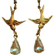 German Saphiret Glass Bird Figural Dangle Leverback Earrings