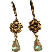 German Saphiret Glass Oxidized Brass Floral Dangle Leverback Earrings