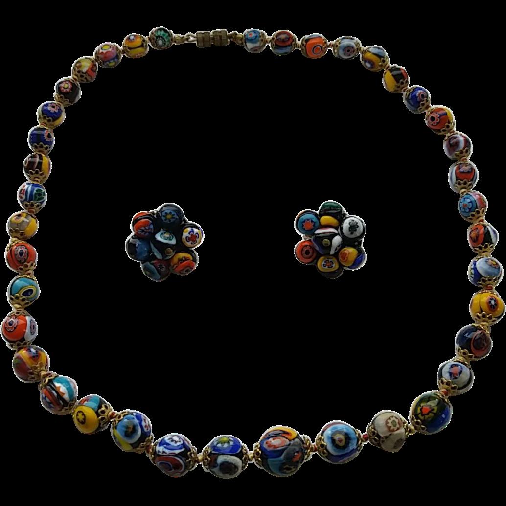 Vintage Venetian Murano Millefiori Art Glass Bead Necklace Clip Earrings Set