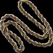 "Vintage Gold Filled Krementz Thick 24"" Rope Necklace"