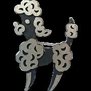 Vintage Brushed Metal & Black French Poodle Dog Figural  Pin Brooch