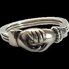 Vintage Sterling Silver Fede Grasping Hands Heart Gimmel Ring Size 8 3/4
