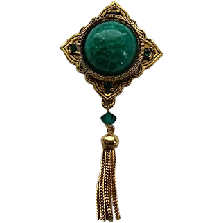 Vintage Hattie Carnegie Victorian Revival Green Glass Tassel Pin Brooch