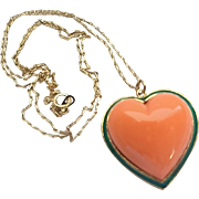 Vintage Ciner Goldtone Green Enamel Coral Glass Heart Pendant on Chain Necklace