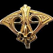 Antique Art Nouveau Fleur Di Lis Plated Brass Watch Pin