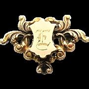 """Antique Victorian Gold Gilt Brass Watch Pin Initial """"E"""""""