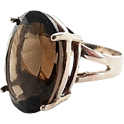 Vintage Sterling Silver Big Smokey Quartz Ladies Ring Size 7