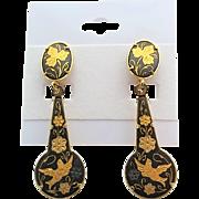 Vintage Spanish Damasene Bird Floral Dangle Earrings Pierced
