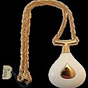 Vintage Crown Trifari Mod Cream Lucite Pendant Necklace