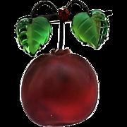 Vintage Austria Glass Fruit Carved Glass Leaves Figural Pin Brooch