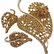 Vintage Large Size Dodds Rhinestone Leaf Fly Insect Pin Brooch Matching Earrings Set