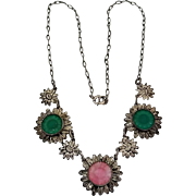 Vintage 1940's Antiqued Silvertone Daisy Flower Carved Glass Necklace