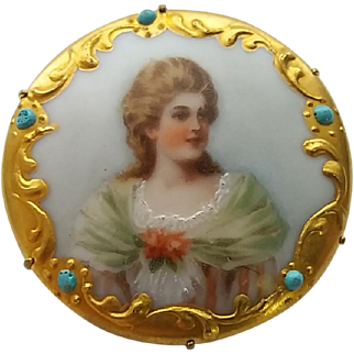 Antique Victorian Hand Painted On Porcelain Lady Maiden Pin Brooch