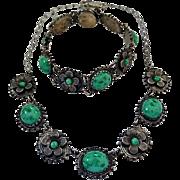 Vintage 1940's Green Cabochon Flower Necklace Matching Snap Closure Bracelet