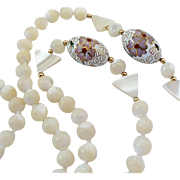 Vintage Mother Of Pearl Cloisonne Bead Necklace