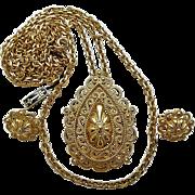 Vintage Crown Trifari Goldtone Textured Swirls Pendant Necklace Clip Earrings Set