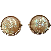 Antique Victorian Era Gold Filled Mother Of Pearl Cufflinks Cuff Buttons