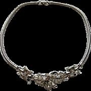 Vintage Trifari Silvertone Baguette Clear Rhinestone Snake Chain Necklace