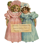 1900 Hood's Die-Cut Advertising Calendar Cute Girls