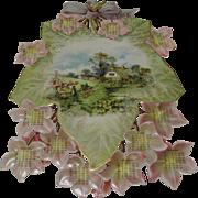 Die Cut 1903 Calendar Cottage Scene Pink Flowers
