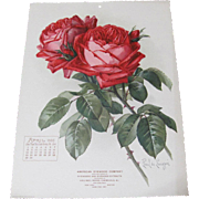 1906 April Paul de Longpre Calendar Page Red Roses