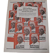 1918 Aunt Jemima Pancake Flour Magazine Advertisement Black Americana