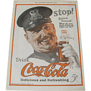 1924 Coco Cola Coke Policeman Magazine Advertisement