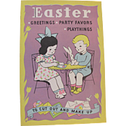 1936 Easter Greetings Party Favors Playthings To Cut Out & Make Up
