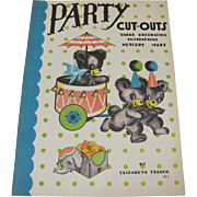 1938 Party Cut-Outs Book Teddy Bear Theme