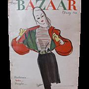Harper's Bazaar Feb 1946 Fashion Magazine