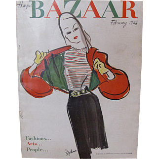 Harper's Bazaar Feb 1946 Fashion Magazine