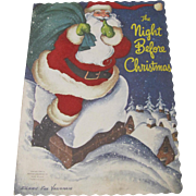 1949 Night Before Christmas Book Fuzzy Santa