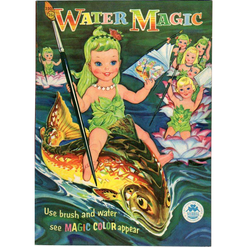 1956 Water Magic Paint Book Fish & Water Babies Unused