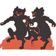 1920's Halloween Dancing Cats 2 Pieces of A Set