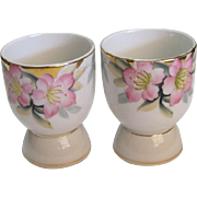 Pair Noritake Azalea Pattern Egg Cups Red Mark