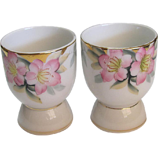 Pair Noritake Azalea Pattern Egg Cups Red Mark