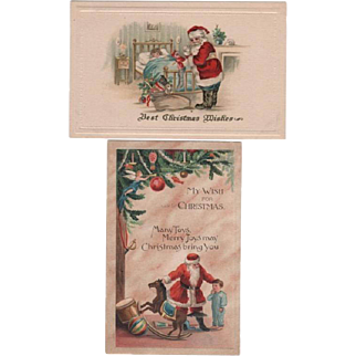 Pair Small Santas With Toys Embossed Postcards