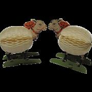 1949 Pair Honeycomb Self Standing Sheep