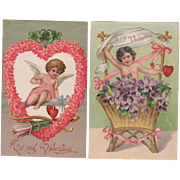 Pai Embossed Cupid Valentine Postcards