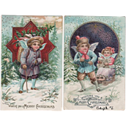 Pair Christmas Child Angels Embossed Postcards