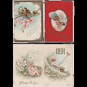 3 Charming Small Advertising Calendars 1891-1896-1902