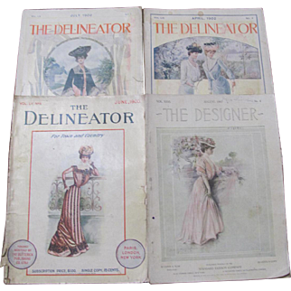 Four 1900-1907 The Delineator & Designer Magzines Fashion