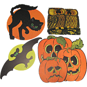 Four Halloween Decorations Cat Bat Owl & Jol